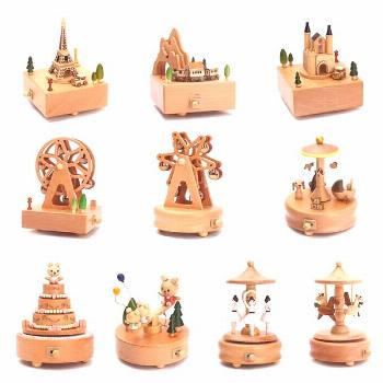 Carnival Hand Operated Wooden Music Boxes