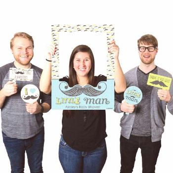 Little Man Mustache Party - Personalized Birthday or Baby Shower Photo Booth Picture Frame & Props
