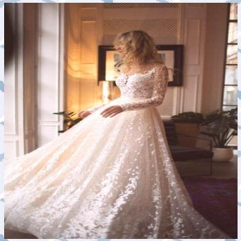 Muse wedding with long sleeves, low back, A-line - fashion jewelry trends wedding wedding centerpie