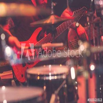 Musicians of rock band in concert. Music ,