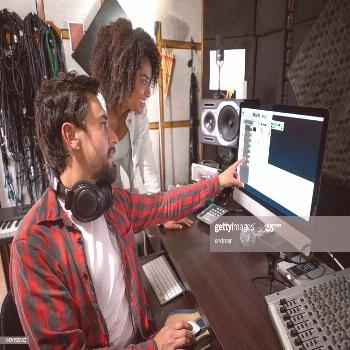 Musicians Working At A Recording Studio Photography ,
