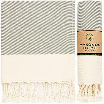 Mykonos Turkish Hand Towel Set of 2- 40x19 Inches 100% Pure