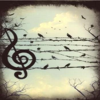 This would make a really pretty tattoo, even the music note. I love the bird silhouette on the wire