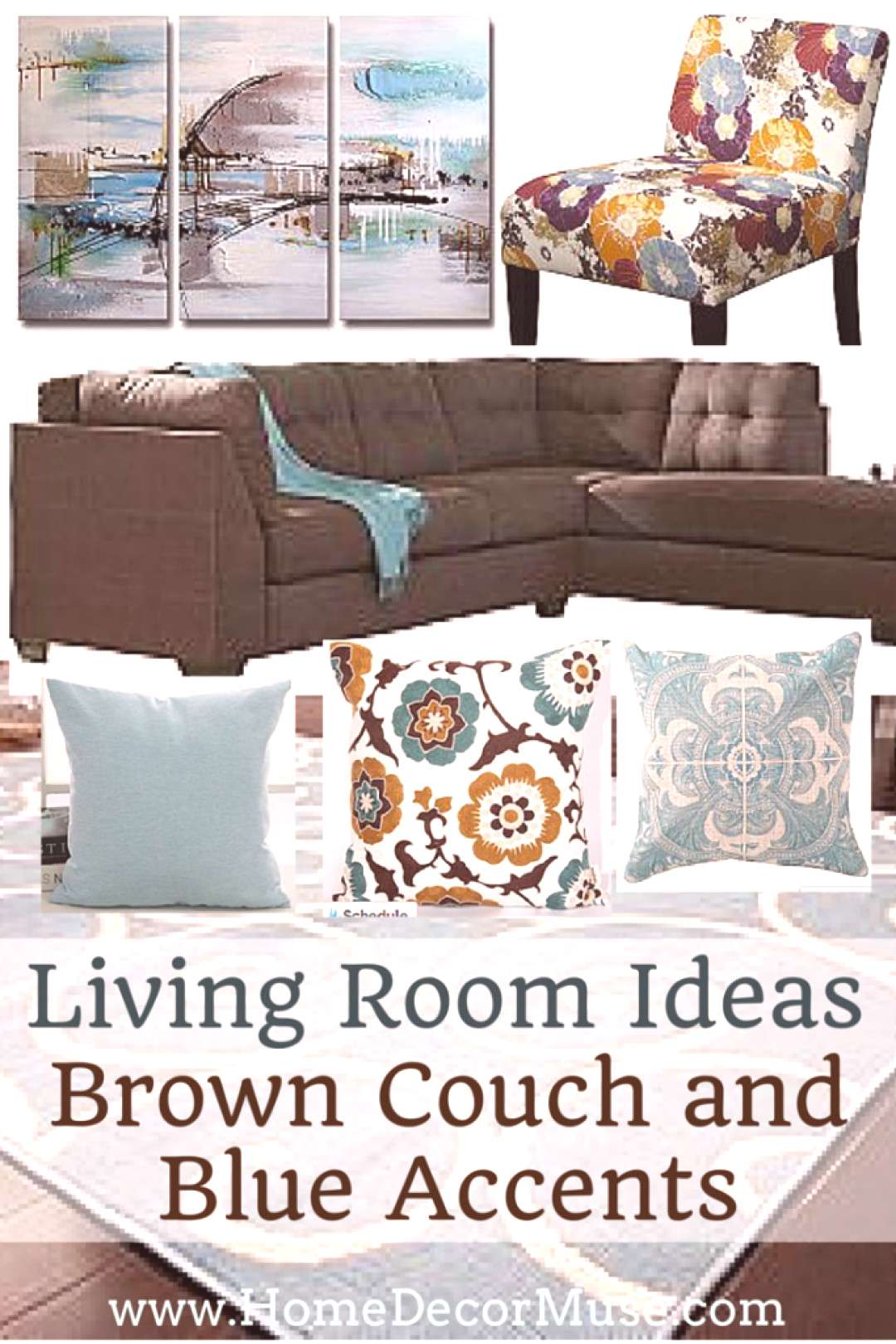 Brown Sectional Sofa Plus Blue Living Room Inspiration – Home Decor Muse#blue