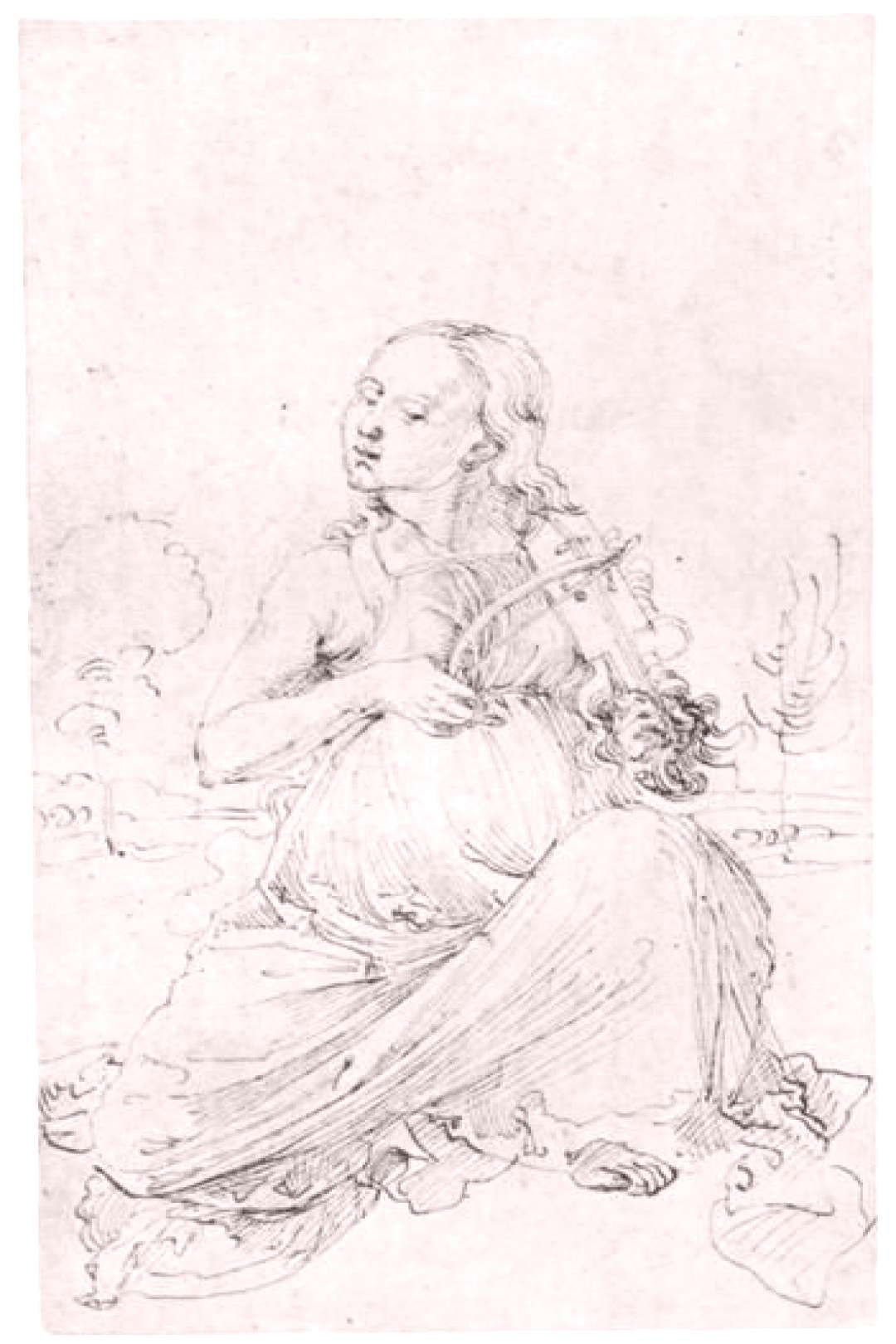 Drawing from the quotTarotquot  The Muse Thalia - Albrecht Durer
