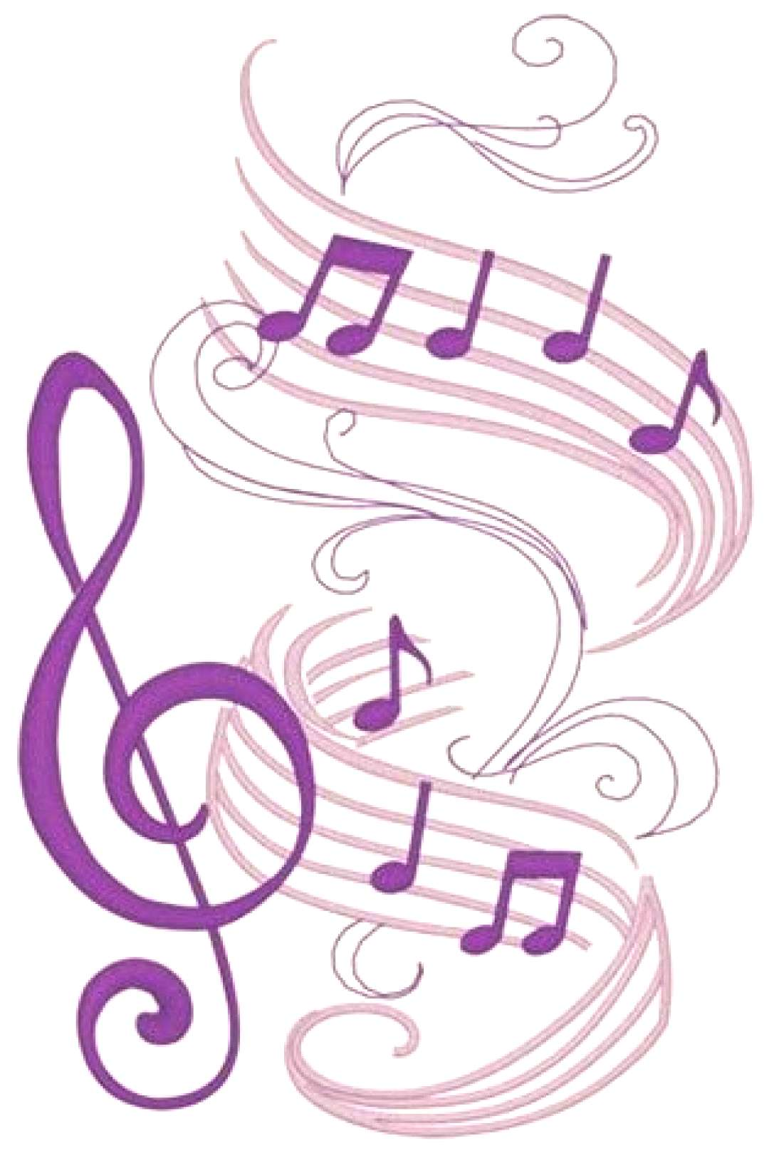 Graceful Music Notes Embroidery Designs, Machine Embroidery Designs at