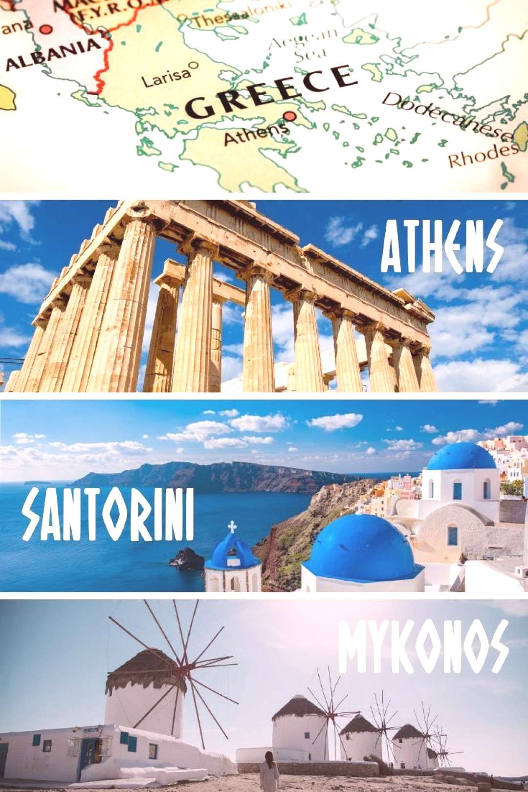 Greece Travel Itinerary A 7 day Athens -Santorini - Mykonos itinerary for first time travelers to